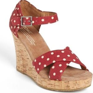 TOMS strappy red polka dot wedge.